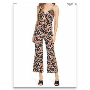 Leith Tan Adobe Inverse Floral Jumpsuit Size M